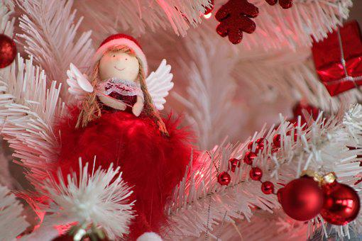Angel, Christmas Tree, Decoration, White, Red