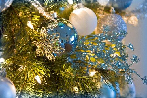 Holiday, Decoration, Bulb, Festive, Blue, Ball