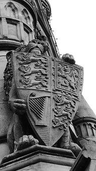 Black And White, Shield, Architecture, Lion, Building