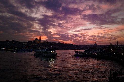 Eminönü, In The Evening, Afternoon, Turkey, Cloud, See