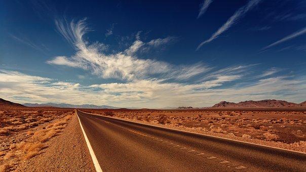 Road, Nevada, Clouds, Bird, Landscape, Highlands