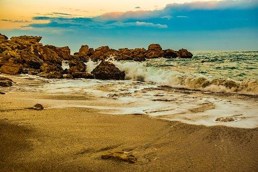 Beach, Wave, Sand, Sea, Coast, Rocks, Clouds, Sky