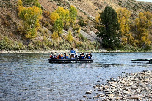Floating On The Snake River, Raft, Boat, Float, Grand