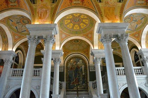 Washington, Library, Architecture, Dc, Interior