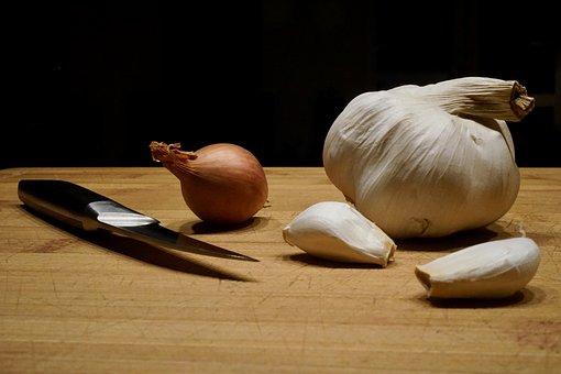 Garlic, Onion, Food, Kitchen, Wood, Knife, Cook, Fresh