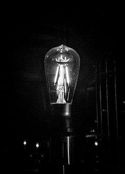 Bulb, Black And White, Light, Electricity, Characters