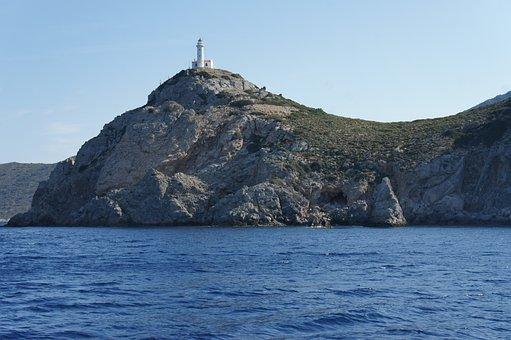 Lighthouse, Sea, Cliff, Coast, The Mediterranean