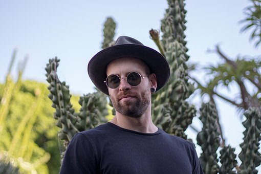 Man, Portrait, Nature, Cactus, Hat, Glasses, Young