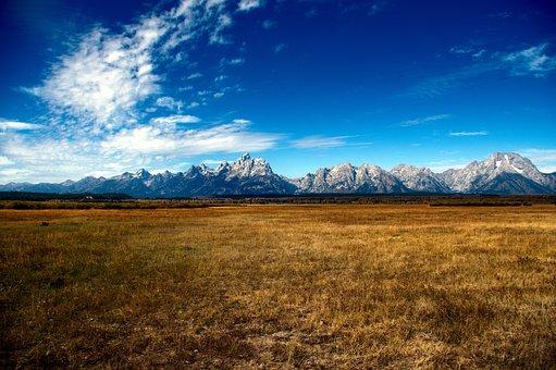 Tetons Across The Valley, Mountains, Prairie, Nature