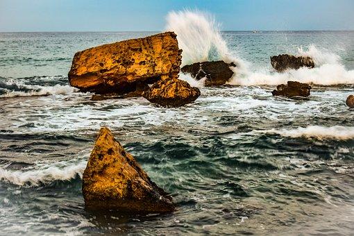Rocky Coast, Rock, Wave, Smashing, Foam, Spray, Wind