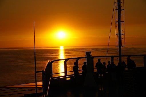 Sunset, Ship, Sea