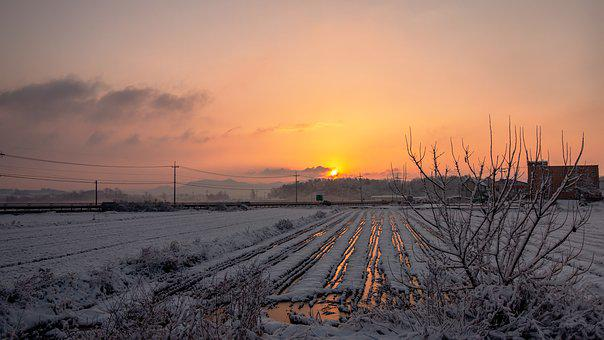 Snow, Sunrise, Travel, Winter, Landscape, Country