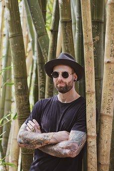 Man, Portrait, Bamboo, Hat, Sun Glasses, Glasses, Young