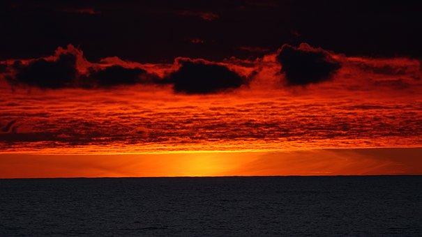 Sunset At Sea, Ocean Sunset, Twilight