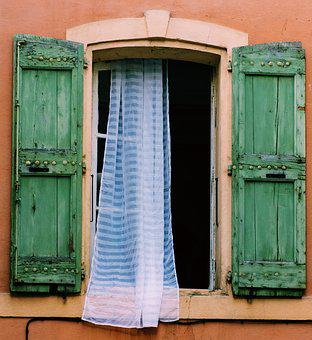 French Windows, Lace Curtains, Wooden Shutters