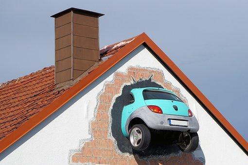 Auto, Wall, Breakthrough, Art, Accident, Wreck