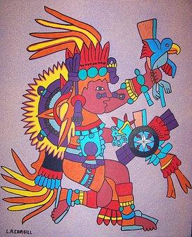 Tonatiuh, Aztec, Aztec Day God, Aztec God, Painting