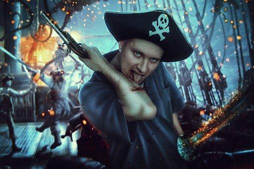 Pirate, Ship, Blood, Boarding, Pistole, Gun, Sword