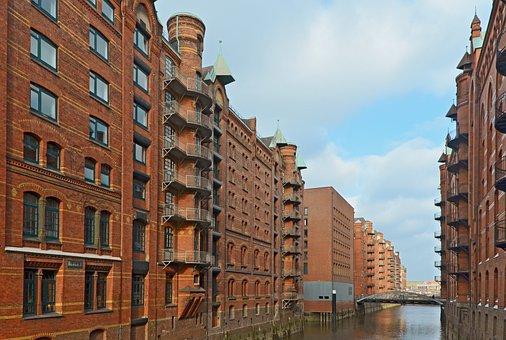 Hamburg, Speicherstadt, Brick, Building