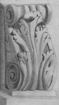 Ornament, Capital, Relief, Arabesque, Curlicue