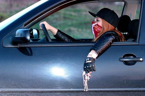 Girl, Gangster, Car, Pistol, Mission, Cap, Blonde
