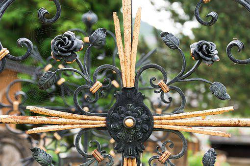 Cross, Wrought Iron, Rose, Gilded, Grave, Cemetery