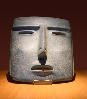Mask, Clay, Ancient, Mexico, Aztec, Indian, Handmade