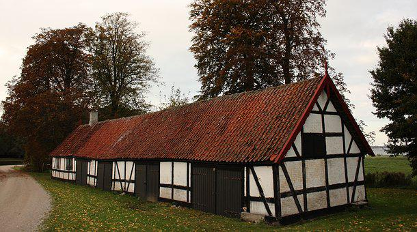 House, Timber Frame, Autumn, Kerteminde, Fyn, Denmark