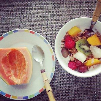 Breakfast, Fruit, Granola, Healty, Eating, Food