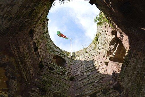 Castle, Wales, Flag, Welsh, Uk, Ancient, Building