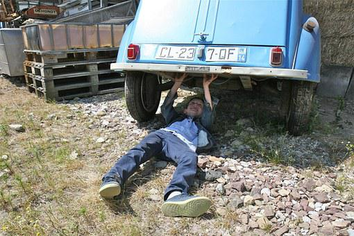 Repairing, Master, Old, Car, Boy, Fun, Citroen, Blue