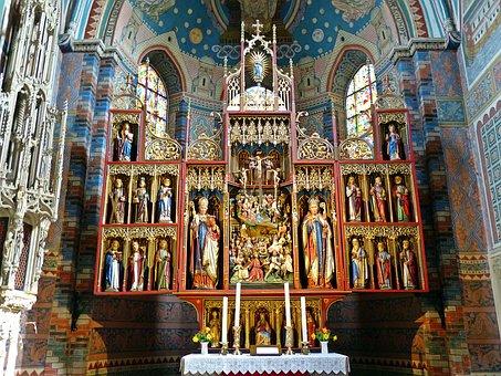 Altar, Church, Architecture, Religion, Art, Gilded