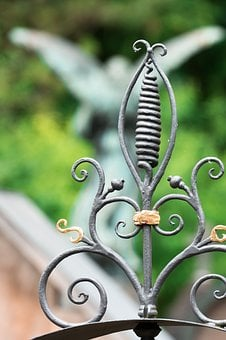 Goal, Detail, Wrought Iron, Gilded, Grave, Cemetery
