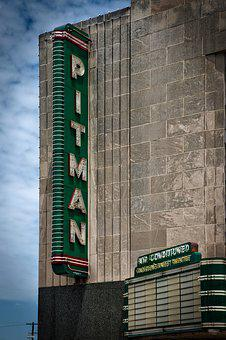 Pitman Theatre, Theater, Sign, Marquee, Old, Landmark