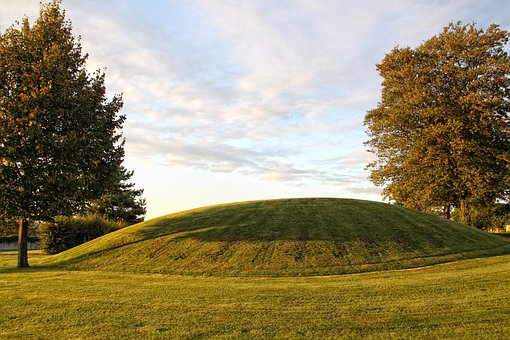 Landscape, Burial Mounds, Trees, Sky, Clouds
