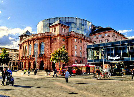 Mainz, Opera, Downtown, Theater, Blue Sky