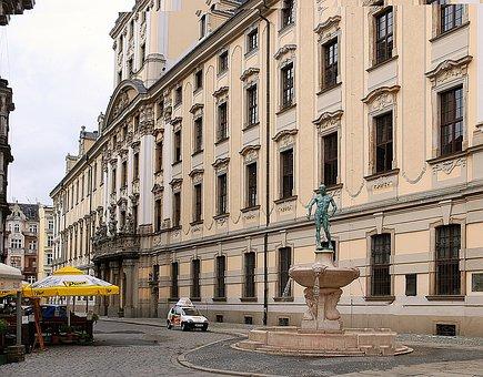 Monument, Fountain, Fencer, Wrocław