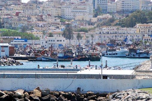 Tanger, Morocco, Ships, Fishing Boats, Panorama, City