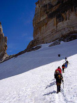 Mountain, Snow, Mountaineering, Step, Rock, Italy