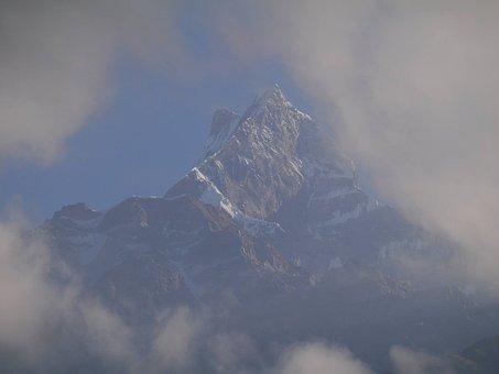 Mountain, Clouds, Nepal, Landscape, Sky, Peak, Trekking