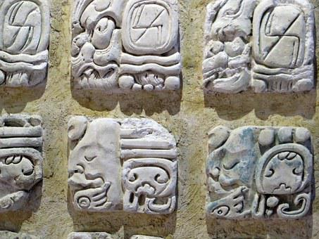 Palenque, Museum, Mayan Glyphs, Writing, Sign