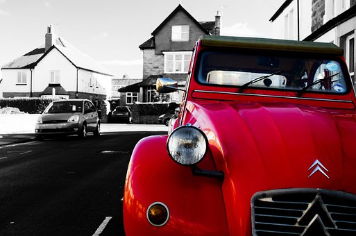 Red, Car, Color, Street, Citroen, Old, Wallpaper