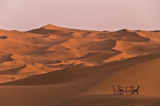 Sand, Sahara, Dunes, Morocco, Seating Arrangement, Sun