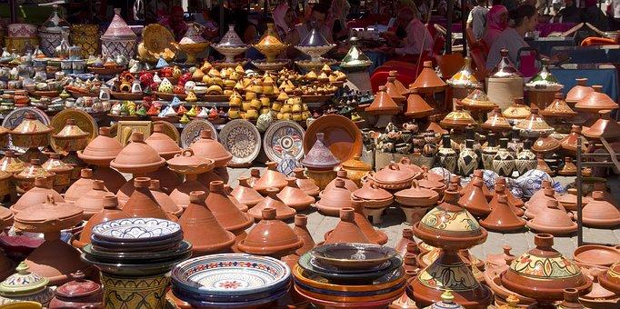 Market, Morocco, Souk, Meknes, Pottery, Tajine, Bazaar