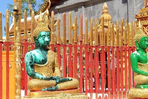 Buddha, Thailand, Temple, Asia, Gold, Buddhism, Statue