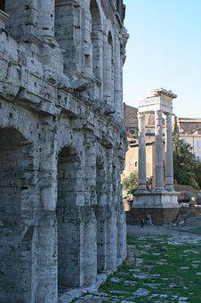 Italy, Rome, Theater Of Marcellus, Ancient Architecture