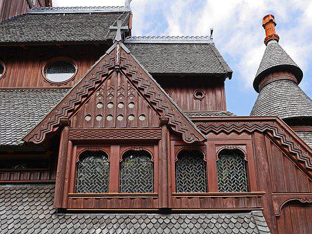 Stave Church, Roof Landscape, Close Up, Dormer, Window