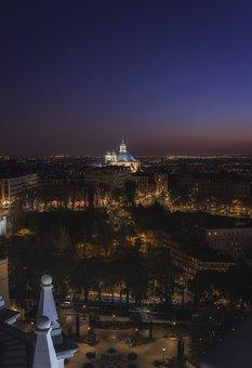 Night, Basilica, Architecture, Madrid