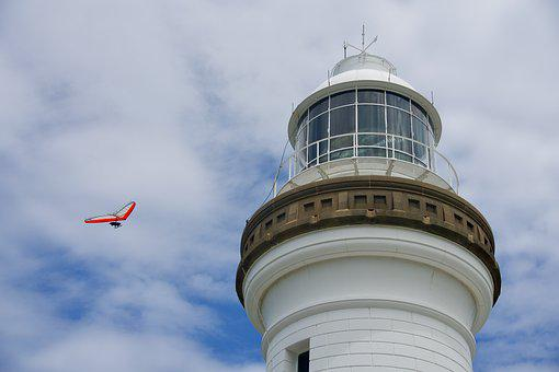 Lighthouse, Beacon, White, Hang Glider, Architecture