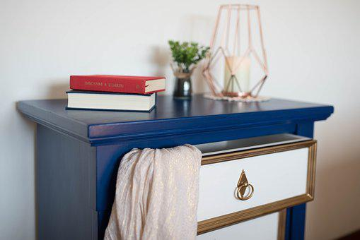 Living Room, Mobile, Chest Of Drawers, Blue, Candle